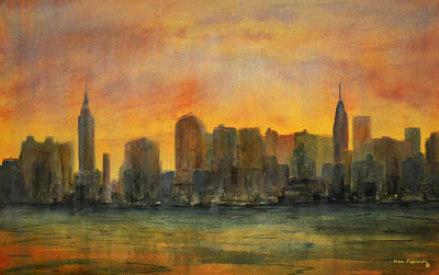 Empire State Building Painting - Midtown Morning by Ken Figurski