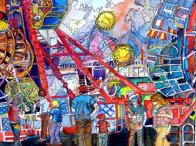 Amusements Mixed Media - Midway Amusement Rides by Mindy Newman