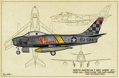 Digital Art - Mig Mad Marine - Profile Art by Tommy Anderson