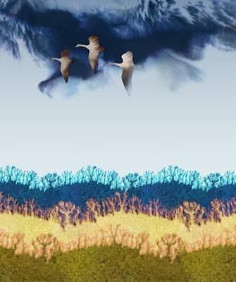 Goose Digital Art - Migration by Varpu Kronholm