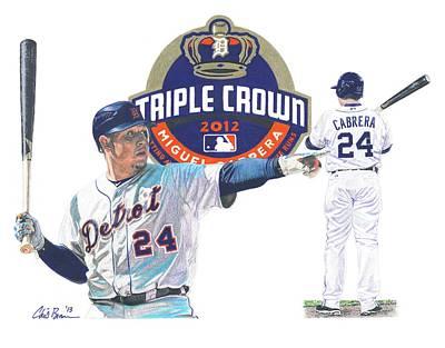 Baseball Drawing - Miguel Cabrera by Chris Brown