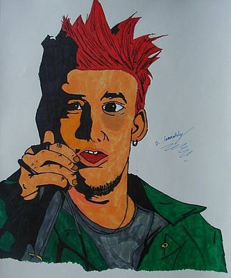 Linkin Park Drawing - Mike S. by Sean Connolly