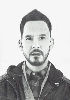 Linkin Park Drawing - Mike Shinoda by Robert Parkin