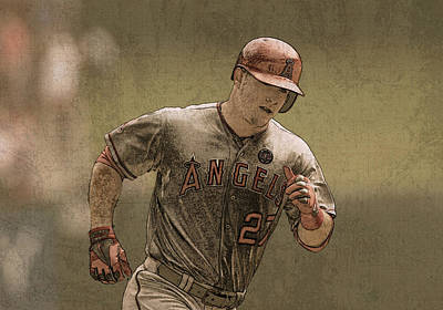Trout Mixed Media - Mike Trout Anaheim Angels Painting by Design Turnpike