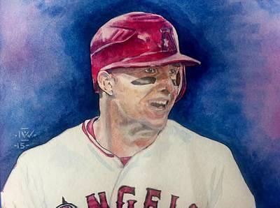 Baseball Drawing - Mike Trout by Nigel Wynter