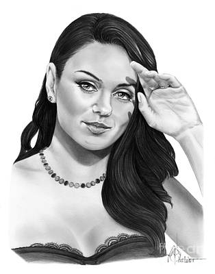 Famous People Drawing - Mila Kunis by Murphy Elliott