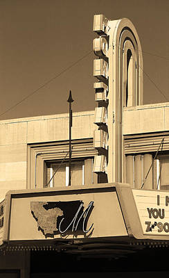 Miles City, Montana - Theater Marquee Sepia Print by Frank Romeo