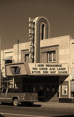 Miles City, Montana - Theater Sepia Print by Frank Romeo