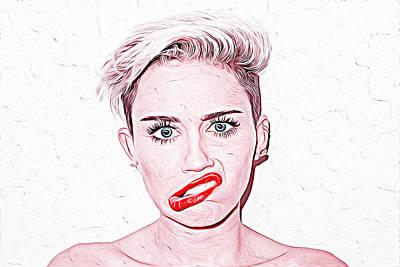 Taylor Swift Digital Art - Miley Cyrus by Iguanna Espinosa