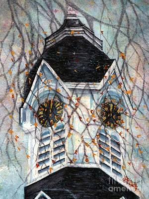 Historic Architecture Painting - Milford Church Clock Tower Autumn Days by Janine Riley