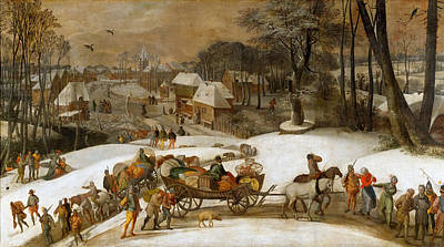 Painting - Military Expedition In Winter by Gillis Mostaert