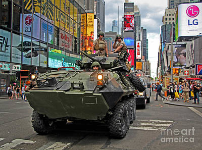 Military Tank In Times Square Print by Nishanth Gopinathan