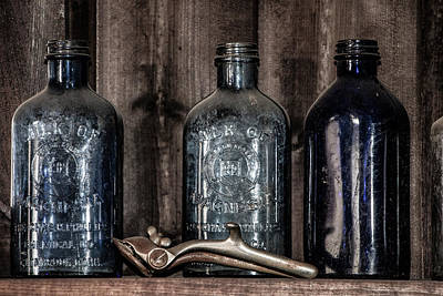 Relic Glass Photograph - Milk Of Magnesia Bottles by Teresa Wilson