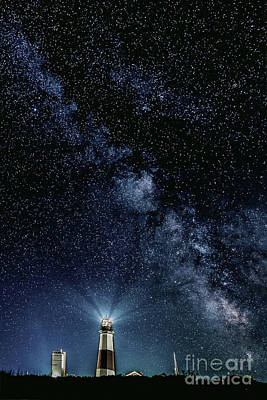 Beach Photograph - Milk Way At The Montauk Lighthouse  by Alissa Beth Photography