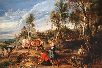 Counter Painting - Milkmaids With Cattle In A Landscape by Peter Paul Rubens
