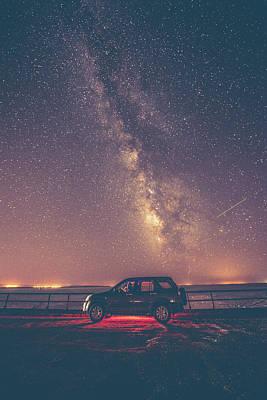 Car Under Milky Way Print by Okan YILMAZ
