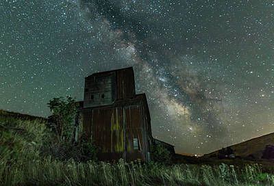 Milky Way And Grain Elevator Print by George Herbert