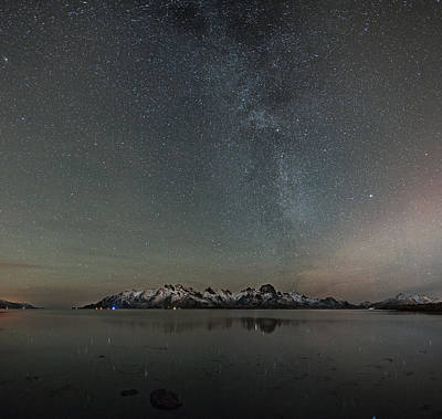 Aurora Photograph - Milky Way And Northern Lights I by Frank Olsen