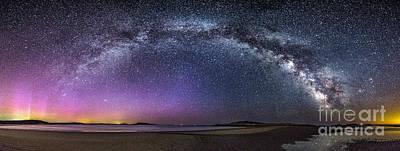 Milky Way Panorama With Northern Lights At Popham Beach Print by Benjamin Williamson