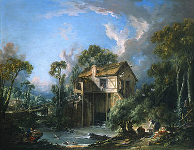 Mill At Charenton Print by Francois Boucher