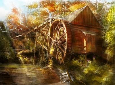 Mill In Woods Photograph - Mill - Cornelia, Ga - Grandpa's Grist Mill 1936 by Mike Savad