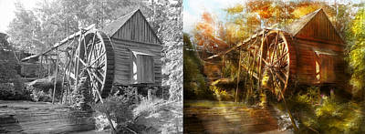 Mill In Woods Photograph - Mill - Cornelia, Ga - Grandpa's Grist Mill 1936 - Side By Side by Mike Savad