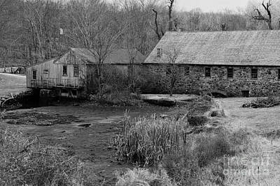 Mill In Black And White Print by Paul Ward