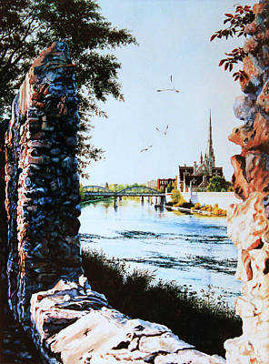 Cambridge Painting - Mill Race Look-out by Hanne Lore Koehler