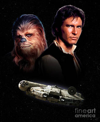 Hope Digital Art - Han Solo - Millenium Falcon by Paul Tagliamonte