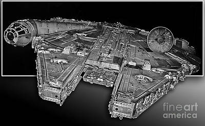 Millennium Falcon Attack Print by Kevin Fortier
