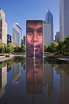 Millennium Park Fountain And Chicago Skyline Print by Steve Gadomski