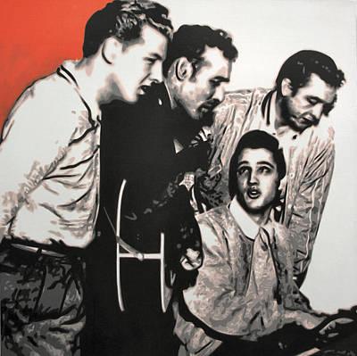 Johnny Cash Painting - Million Dollar Quartet by Luis Ludzska