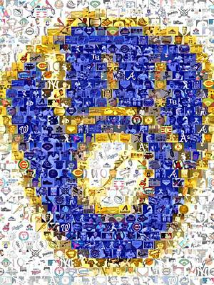 Montage Drawing - Milwaukee Brewers Mosaic by Paul Van Scott