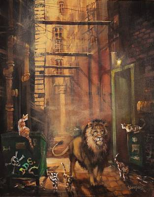 City Scenes Painting - Milwaukee Lion by Tom Shropshire