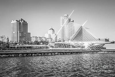 Milwaukee Skyline Photo In Black And White Print by Paul Velgos