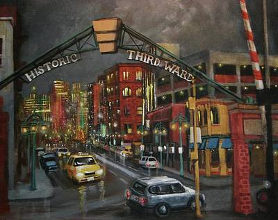 City At Night Painting - Milwaukee's Historic Third Ward by Tom Shropshire