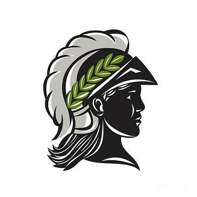 Warrior Goddess Digital Art - Minerva Head Profile Silhouette Retro by Aloysius Patrimonio
