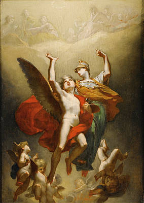 Prudhon Painting - Minerva Leading The Genius Of Arts To Immortality by Pierre-Paul Prudhon