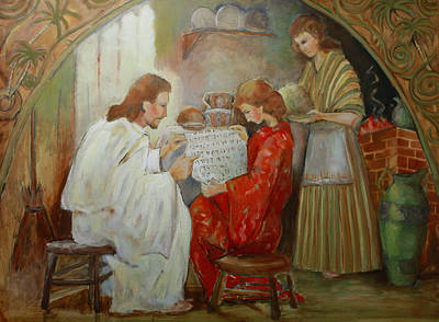 Martha Mary Painting - Minerva Teichert Study Jesus At The Home Of Mary And Martha  by Anika Ferguson