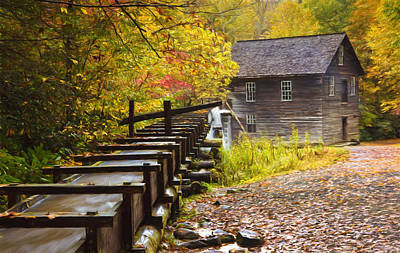 Grist Mill Photograph - Mingus Mill Painted by Jonas Wingfield