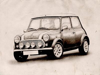 Austin Digital Art - Mini Cooper Sketch by Michael Tompsett