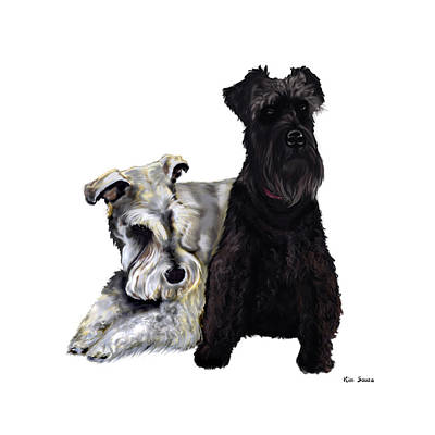 Mini Schnauzer Buddies Print by Kim Souza