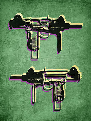 Mini Uzi Sub Machine Gun On Green Print by Michael Tompsett