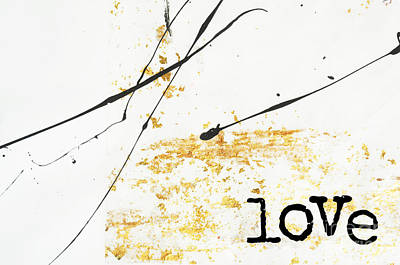 Anahi Decanio Mixed Media - Minimalist Love Collage Gold And Black by WALL ART and HOME DECOR