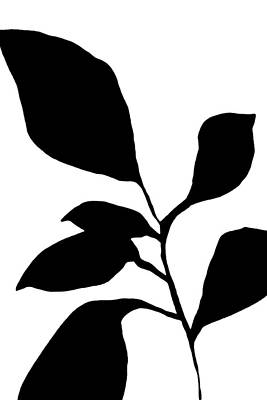 Pottery Barn Style Painting - Minimalist Plant Silhouette by Janine Aykens