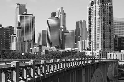 Minneapolis Skyline Photograph - Minneapolis Black And White by Heidi Hermes