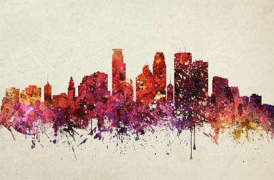 North Drawing - Minneapolis Cityscape 09 by Aged Pixel