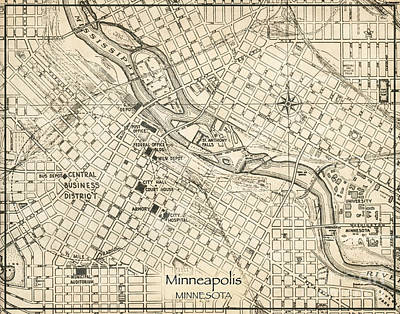 Minnesota Twins Digital Art - Minneapolis Minnesota Antique Vintage City Map by ELITE IMAGE photography By Chad McDermott