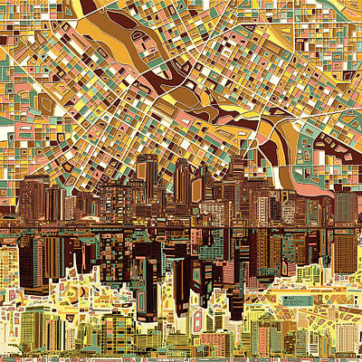 Minneapolis Skyline Abstract 8 Print by Bekim Art