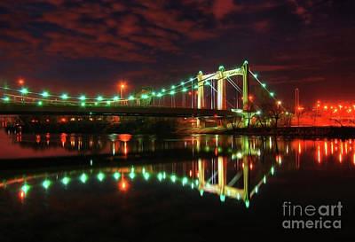 Minneapolis Skyline Photograph - Minneapolis Skyline Hennepin Avenue Bridge by Wayne Moran
